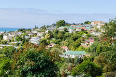 Bluff Hill Napier New Zealand. Bluff Hill residential area in the coastal city of Napier New Zealand overlooking the Pacific coast showing colonial style housing Stock Images
