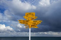 Bluff landmark signpost, New Zealand Stock Images