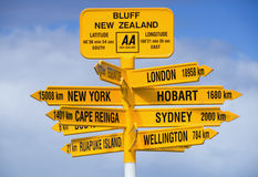 Bluff Signpost. Signpost at Bluff in New Zealand Stock Images