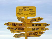 Bluff Signpost, New Zealand. The landmark Signpost at Bluff at the bottom of the South Island, New Zealand royalty free stock image