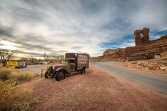 Old truck with advertising for the Twin Rocks Cafe and Gallery in Bluff, Utah Royalty Free Stock Image