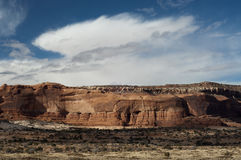 Bluffs in Canyonlands Park, Moab, Utah. Winter storm blows over bluffs in Canyonlands Park, Moab, Utah Royalty Free Stock Photos