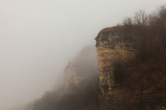Bluffs on the Foggy Mississippi River Stock Photo