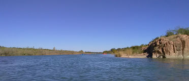 Bluffs on the Llano River. Between Mason and Castell, Texas. Kayak trip from Castell General Store Stock Photo