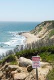 Προειδοποιητικό σημάδι Bluffs Mohegan Στοκ εικόνα με δικαίωμα ελεύθερης χρήσης