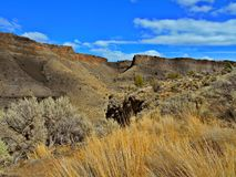 Bluffs Over the River. High bluffs of the Crooked River Canyon - in Crooked River Ranch - Crooked River National Grassland - near Terrebonne, OR Royalty Free Stock Image