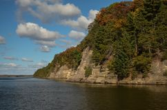 Bluffs on the Wisconsin River. A view of bluffs on the Wisconsin River in the Wisconsin Dells Royalty Free Stock Photos