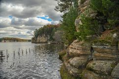 Bluffs on the Wisconsin River. A view of bluffs on the Wisconsin River in the Wisconsin Dells Stock Photography