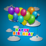 BluHappy Birthday, Balloons on Sky Royalty Free Stock Photography