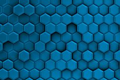 Bluish background with texture of hexagons Stock Photo