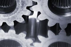 Bluish gears-close-up Royalty Free Stock Photos