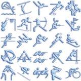 Bluish sports icon set Royalty Free Stock Images