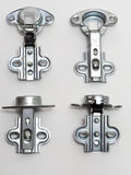 Blum integrated overlay cabinet hinge soft-close. Adjustment in three planes. Set Stock Photography