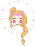Blume Chaplet-Mädchengesicht Lizenzfreies Stockbild