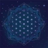 Blume des Lebens, der heiligen Geometriesymbole und der Elemente für Alchimie, Geistigkeit, Religion, Philosophie, Astrologielogo stock abbildung