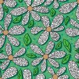 Blume, die nahtloses Muster des grünen Hintergrundes färbt Lizenzfreie Stockfotografie