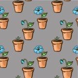 Blume in einem bunten Muster des Topfes Lizenzfreie Stockfotos