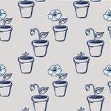 Blume in einem Topfmonochrommuster Lizenzfreie Stockfotos