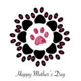 Blume gemacht vom Pfotenabdruck mit Grußkarte der Herzen und `` glücklicher des Mutter ` s Tages`` Textes stock abbildung