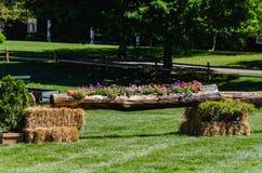 Blume gepflanztes Klotz-Pferd springen Lizenzfreie Stockfotografie