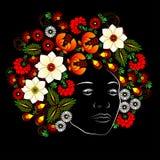 Blume Gesicht der Frau Vektor in der ukrainischen traditionellen Malerei Lizenzfreie Stockfotografie