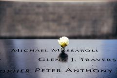 Blume im Staatsangehörig-am 11. September Denkmal in New York City Lizenzfreie Stockfotografie