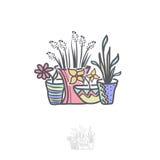 Blume im Topf Logo Illustration Design Stockfotos