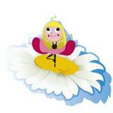 Blume mit kleiner Frau Stockfotografie