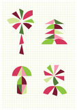 Blume, Palme, Pilz, Tanne, Tangram stellt dar Stockfoto