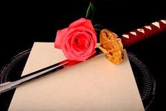 Blume Quill Parchment Sword Lizenzfreie Stockbilder