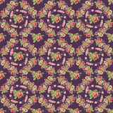 Blume und Feder winden nahtloses Muster mit purpurrotem Hintergrund Stockfoto