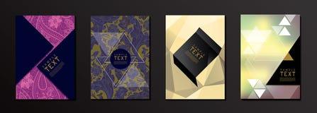 Blume und geometrische Form-Abdeckungs-Design-Schablone stock abbildung