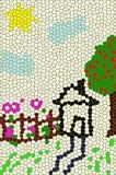 Blume und Haus Stockbild