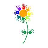 Blume von bunten Handabdrücken Lizenzfreies Stockbild