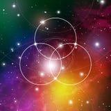 Blume von lebens- das Ineinander greifen kreist altes Symbol auf Weltraumhintergrund ein Heilige Geometrie Die Formel der Natur Stockfotografie