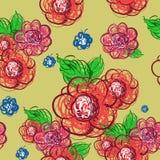 Blumen übergeben gezogenes Vector nahtloses Muster Lizenzfreie Stockfotos