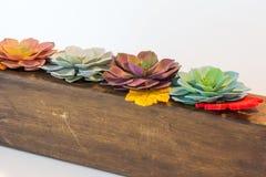 Blumen-Anordnung auf Holz Stockbild
