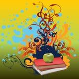 Blumen-Apple-Buch-Vektor-Design Lizenzfreie Stockbilder