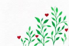 Blumen-Aquarell Karte mit Wasserfarbblättern Durch St.-Valentinsgruß Stockfotos