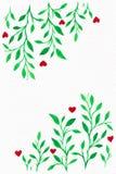 Blumen-Aquarell Karte mit Wasserfarbblättern Durch St.-Valentinsgruß Stockbilder