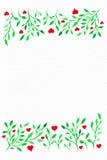 Blumen-Aquarell Karte mit Wasserfarbblättern Durch St.-Valentinsgruß Lizenzfreie Stockbilder
