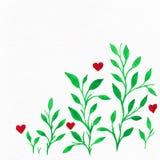 Blumen-Aquarell Karte mit Wasserfarbblättern Durch St.-Valentinsgruß Lizenzfreies Stockbild