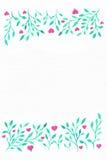 Blumen-Aquarell Karte mit Wasserfarbblättern Durch St.-Valentinsgruß Stockfotografie