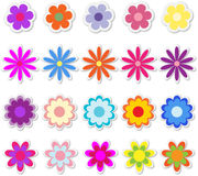 Blumen auf Aufklebern lizenzfreie abbildung