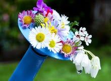 Blumen auf Bewässerungsdose Stockfoto