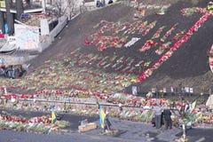 Blumen auf den Barrikaden Stockfotos