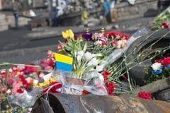 Blumen auf den Barrikaden von Kiew Lizenzfreie Stockbilder