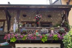Blumen auf der Terrasse stockfoto