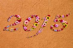 2015 Blumen auf festlichem auf Fragment des modernen rauen Stucks Backg Stockfotos