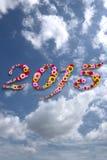 2015 Blumen auf festlichem onBeauty Himmel Hintergrund Lizenzfreies Stockbild